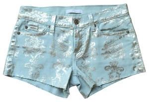 7 For All Mankind Foiled Denim Denim Colored Denim Mini/Short Shorts Mint