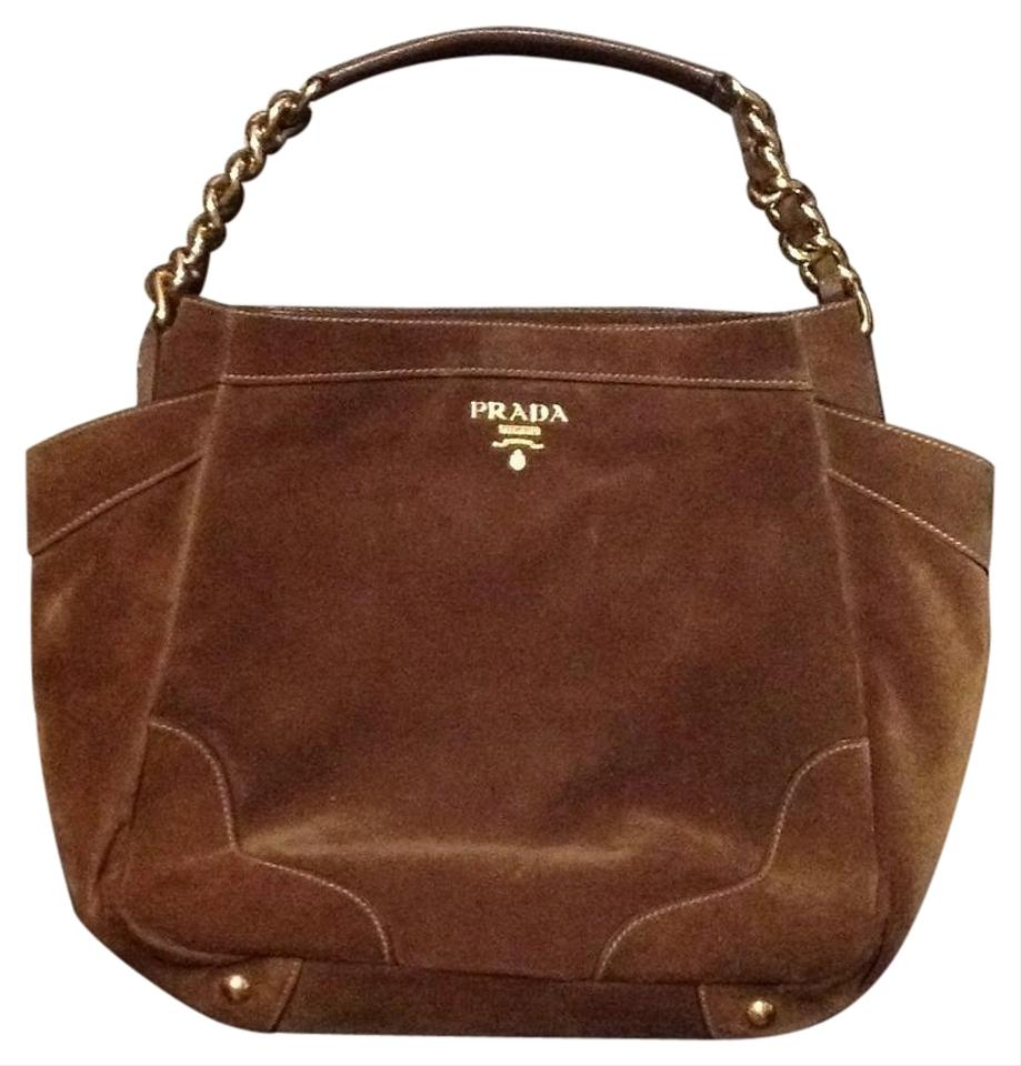 9ff5b936e8 Prada Suede Purse Satchel in Brown ...
