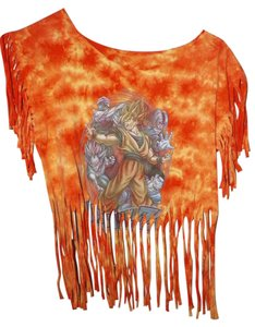 Custom hand altered one of a kind Hippie Top orange