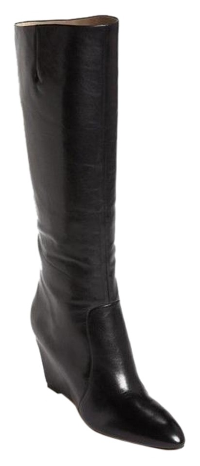 21b89280aad Brian Atwood Black New Bomand Wedge Boots Booties Size US 8 Regular ...
