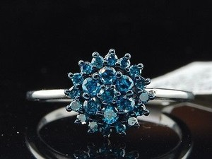 Jewelry For Less Ladies 10k White Gold Flower Set Blue Diamond Engagement Ring Wedding Bridal Set