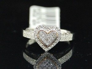 Jewelry For Less Ladies Rose Gold Love Heart Diamond Pave Set Ring .50ct