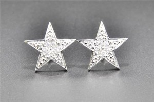 Jewelry For Less Diamond Star Studs 10k White Gold Uni-sex Round Cut Pave Earrings Puffed 0.14 Ct