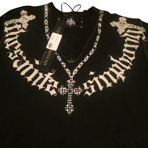 The Saints Simphony T Shirt Black with green jewels