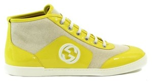 Gucci 363729 Womens Patent Leathercanvas Sneaker Yellow Multi-Color Athletic