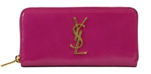 Saint Laurent Ysl Saint Laurent Womens 370776 Monogram Patent Leather Zip Around Wallet