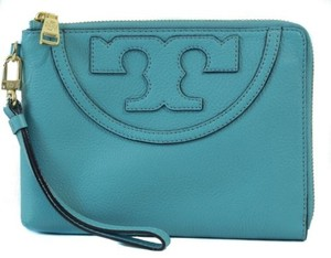 Tory Burch Leather Wristlet Blue Clutch