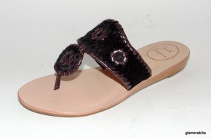 Jack Rogers Capri Navajo Palm Beach Calf Hair Safari Brown Sandals