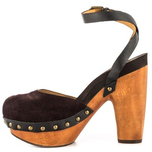 Flogg Darcie Studded Wood Clog Chocolate Brown Suede Sandals