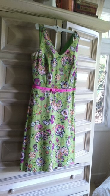 lily short dress green floral on Tradesy