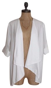 James Perse Cotton Drape Open Front Summer Cardigan White Jacket