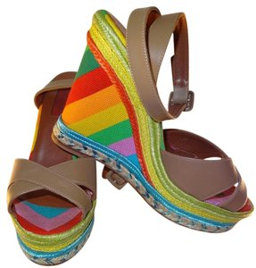 Valentino Valerie Rainbows Color Ankle Strap Size 6-36 Multicolored Wedges