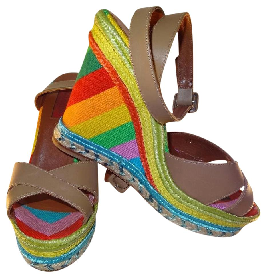 60574fe0048 Valentino Multicolored Espadrille Sandal Brown Wedges Size US 6 ...