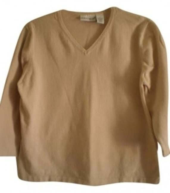 Preload https://item3.tradesy.com/images/croft-and-barrow-beige-nice-v-neck-34-sleeves-tee-shirt-size-14-l-183057-0-0.jpg?width=400&height=650