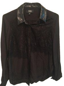 Prabal Gurung for Target Lace Faux Leather Button Down Shirt Black