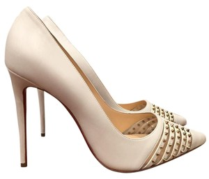 Christian Louboutin Bareta Spike Stiletto Kid white Pumps