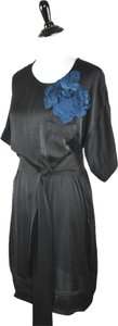 Lanvin short dress Black Liquid Satin Tunic Floral Detail Belted on Tradesy