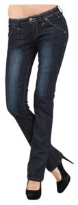 Other Straight Stretchy Zipper Embroidery Trouser/Wide Leg Jeans-Dark Rinse