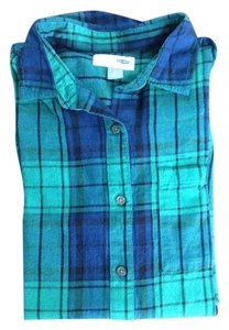 Old Navy Button Down Shirt Blue black green