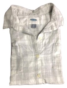 Old Navy Button Down Shirt Grey white