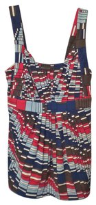 BCBGMAXAZRIA Mod Print Geometric Small Top Blue, white, red, brown, black