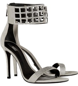 SCHUTZ Formal Night Out Date Night Suede Crystal Soft Gray Sandals