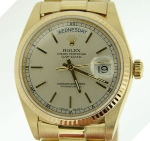 Rolex Mens Rolex Solid 18kt 18k Yellow Gold Day Date President W Silver Dial 18038