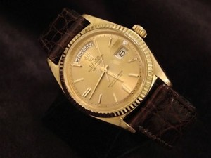 Rolex Rolex Solid 18k Yellow Gold Day-date President Champagne W Brown Crocodile 1803