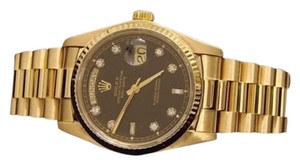 Rolex Mens Rolex Solid 18k Yellow Gold Day Date President W Black Diamond Dial 18038