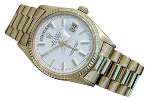 Rolex Mens Rolex Solid 18kt 18k Yellow Gold Day Date President Watch Wwhite Dial 1803