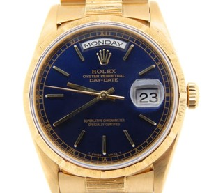 Rolex Mens Rolex Solid 18kt 18k Yellow Gold Day Date President Bark W Blue Dial 18248