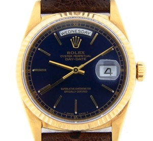 Rolex Mens Rolex Solid 18k Yellow Gold Day-date President Blue W Brown Strap 18238