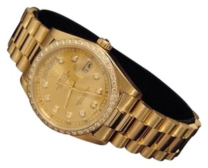 Rolex Mens Rolex Solid 18k Yellow Gold Day Date President Wdiamond Dial Bezel 18038