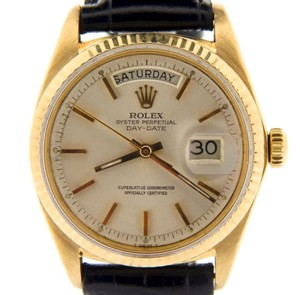 Rolex Men Rolex Solid 18kt 18k Yellow Gold Day-date President Silver Wblack Band 1803