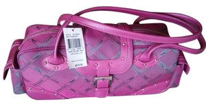 Longchamp Satchel in fuchsia pink and grey