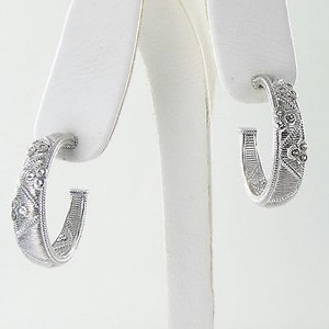 Judith Ripka Judith Ripka Earrings Gothic Quilted Hoops White Sapphires 925 Silver