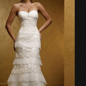 Mia Solano Ivory Feminine Wedding Dress Size 4 (S)