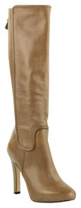 Diane von Furstenberg Knee High Tall Leather Taupe Boots