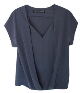AllSaints Draped V-neck Top Blue