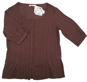 Tulle Button Down Shirt Brown