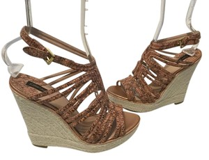 Joan & David Lining Snake Pattern Jute Rope Brown/black blend leather strappy espadrille Wedges