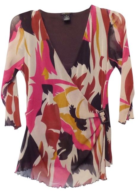 Item - Off-white Hot Pink Purple Red Mustard Mod Print Layered Look Mesh Over Tank Blouse Bcbg Tunic Size 8 (M)