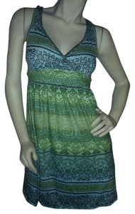 Mudd short dress Green & blue Crossover Top Fit & Flare Print New W/o Tags on Tradesy