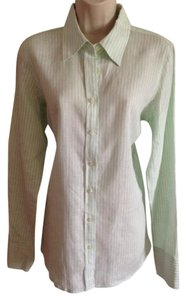 Vineyard Vines Linen Striped Top Green White