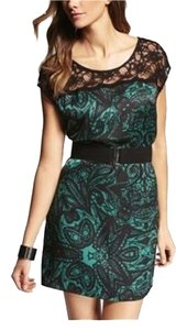 Express short dress Green/Black Shirt Lace Yoke on Tradesy