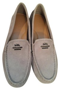 Coach Flat Loafer Fog Suede Gray Flats