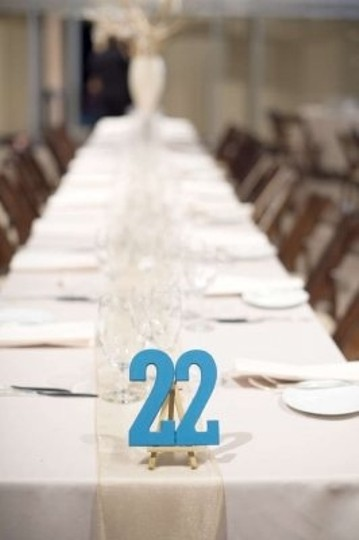 Teal and Gold Table Numbers Reception Decoration