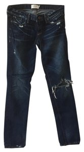 Abercrombie & Fitch Vintage Distressed Straight Leg Jeans-Dark Rinse