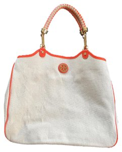 Tory Burch Orange Tote in Natural/Orange
