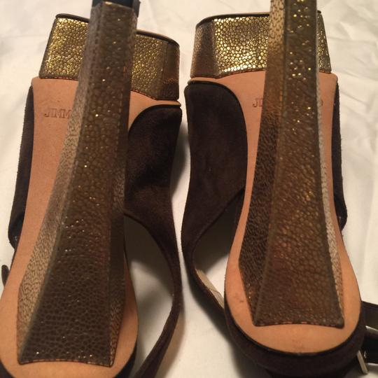 Jimmy Choo Brown and gold Platforms